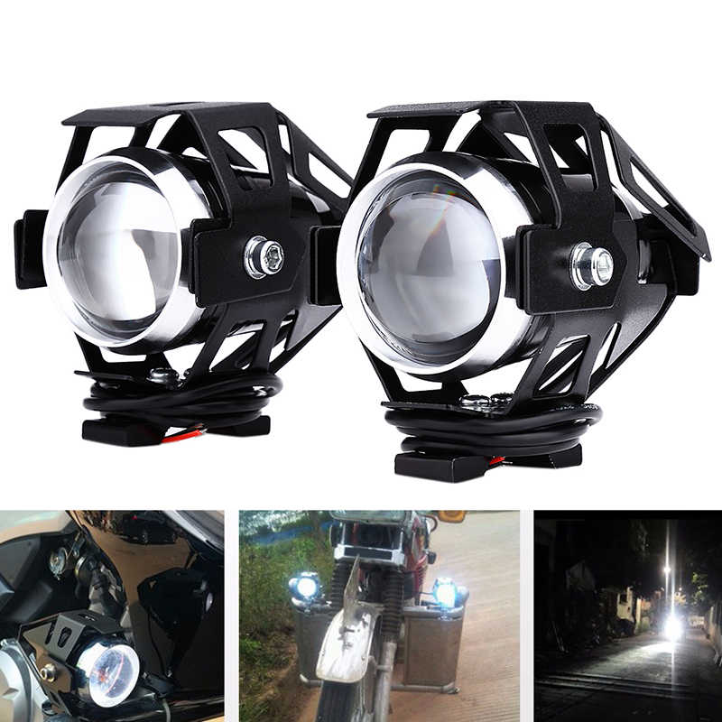 2pcs 125W 12V 3000LM U5 Motorcycle Headlight Bulbs LED Transform Spotlight Fog Lamp Motorbike Motor Car Headlamp with Switch