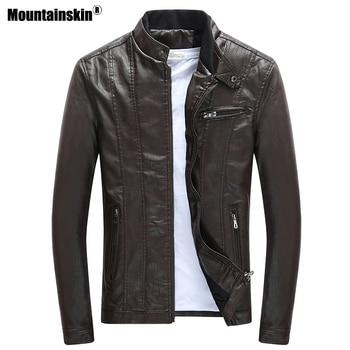 Biker Faux Leather Jacket Men Autumn Winter Clothes Thick Velvet Coat