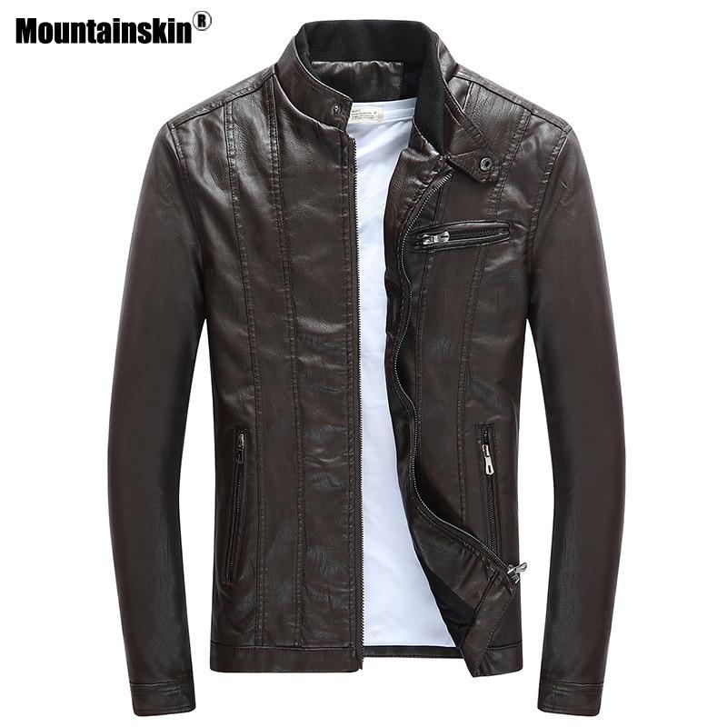 Mountainskin 2018 Hommes PU Vestes Manteaux Moto Biker Faux En Cuir Veste Hommes Automne Hiver Vêtements Épais Velours Manteau SA590