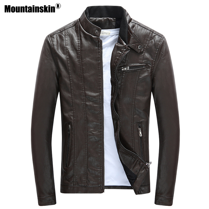 Mountainskin 2018 Mens PU Jackets Coats Motorcycle Biker Faux Leather Jacket Men Autumn Winter Clothes Thick