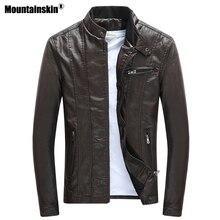 Mountainskin 2018 Для мужчин s Куртки из искусственной кожи пальто Мотоцикл Байкер Искусственная кожа куртка Для мужчин осень Зимняя одежда толстый бархат пальто SA590