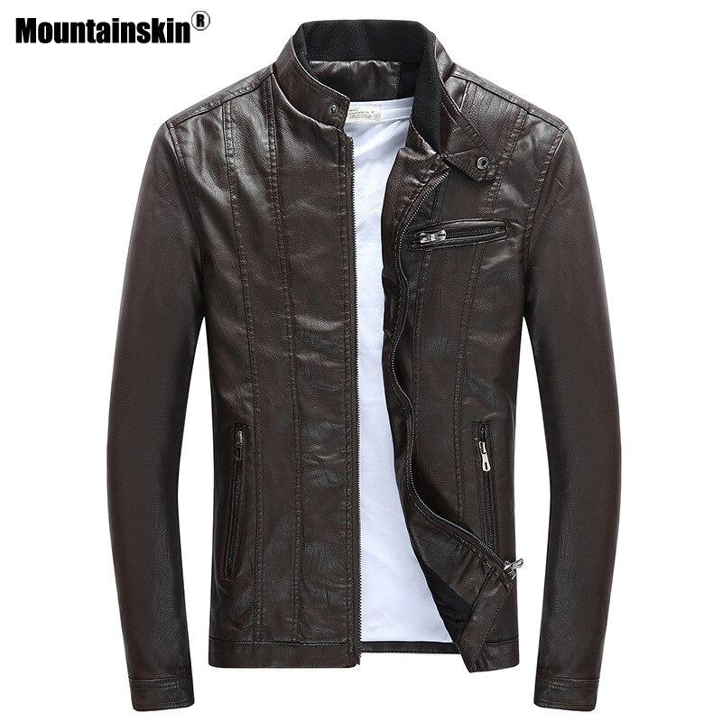 Mountainskin 2020 Mens PU Jackets Coats Motorcycle Biker Faux Leather Jacket Men Autumn Winter Clothes Thick Velvet Coat SA590