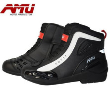 AMU Motorcycle Boots Men Waterproof Moto Motocross Riding Shoes Protection Motorbike