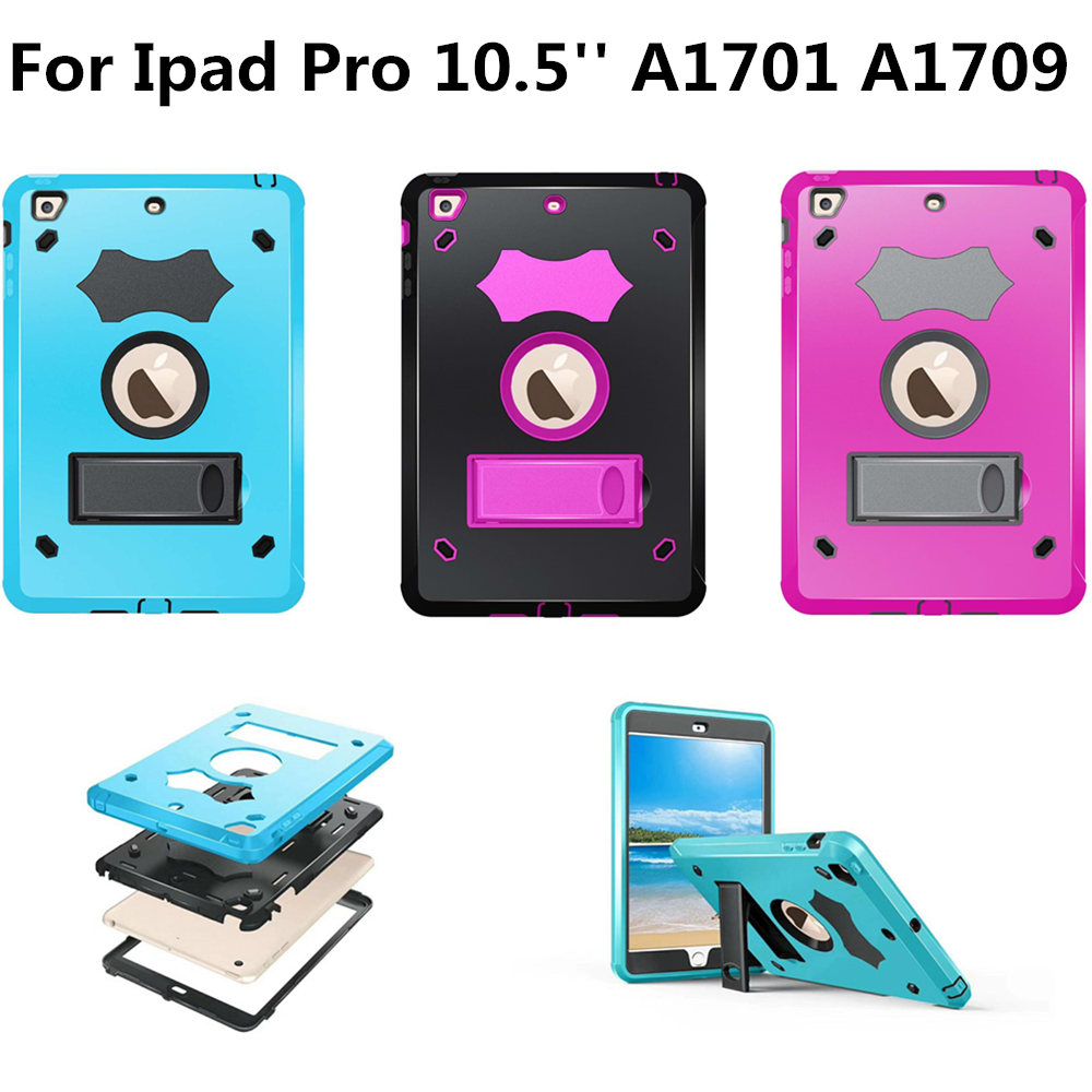 heavy duty kickstand 3 layer protection TPU Silicone Plasic Kids Safe shockproof Case for New iPad pro 10.5 inch A1701 A1709