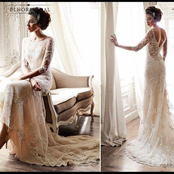 Light Champagne Mermaid Lace Wedding Dresses 2019 Vestidos De Novia Open Back 3/4 Sleeves Bridal Gowns Handmade abiti da sposa-in Wedding Dresses from Weddings & Events    1