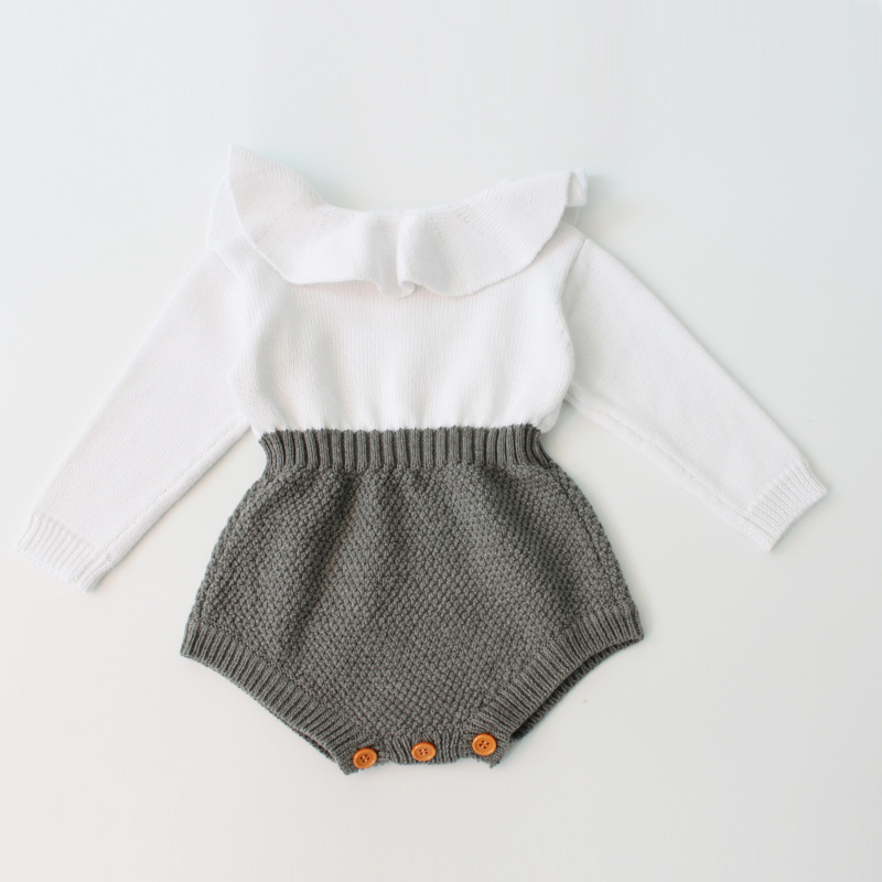 Baby  Romper  Girls Long Sleeve Jumpsuits Ruffles Princess Girl Sweet Knitted Overalls Infant   Winter Coveralls  For Newborns lovely 2017 baby girls infant rompers long sleeve jumpsuits ruffles princess girl sweet knitted overalls infant romper 9 36m