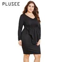 PLUSEE 2017 New Women Off Shoulder Mini Dress Lace Plus Size Sexy Dresses Black Vestido De