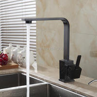 Free Shipping Elegant 360 Rotating Black Square Kitchen Faucets Square Sink Kitchen Mixer Water Tap Brass