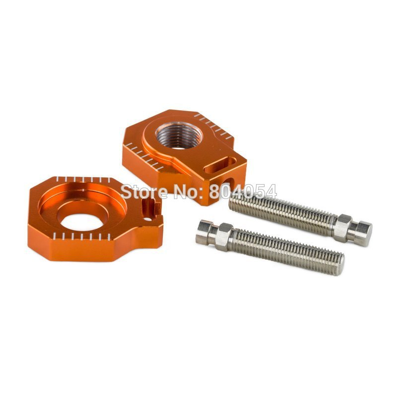 Billet Axle Blocks Chain Adjuster For KTM 125 150 200 250 300 350 400 450 500 505 525 530 EXC EXC-F XC-W XCW XCF-W 2000-2015 orange cnc billet factory oil filter cover for ktm sx exc xc f xcf w 250 400 450 520 525 540 950 990