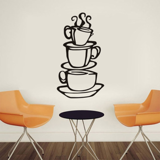 1 pcs Fashion Removable Coffee House Cup Vinyl Wall Art Metal Mug ...