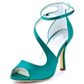 Mujer Sandalias de Tacón Alto Correa Cruzada Turquesa Peep Toe Bomba del Satén de Damas de Honor Vestido de Novia Zapatos de Boda Noche de Baile HP1565 Azul