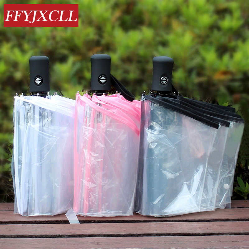 9a146ddc313341 Korean Style Fully-automatic Transparent Umbrellas Wind Resistant Creative  Three Folding Umbrella Rain Parasol Men Women