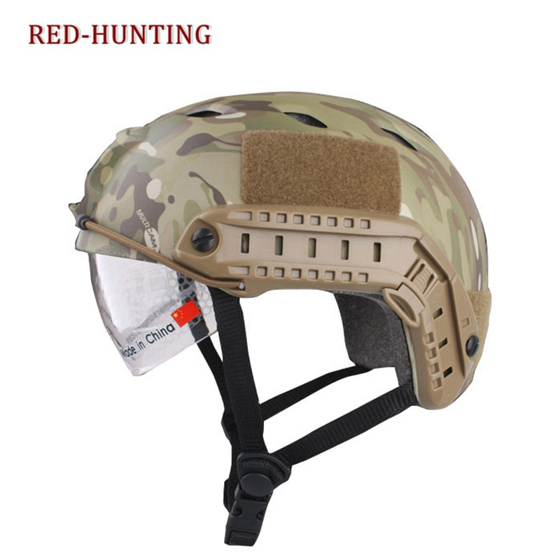 Multicam  FAST Helmet With Protective Goggle BJ Type Helmet Military Airsoft Helmet tactical Army Helmet