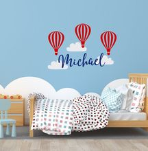 Hot Air Balloons Wall Sticker Personalized Name Vinyl Decal Kids Wallpaper Home Bedroom Decor Mural AY096