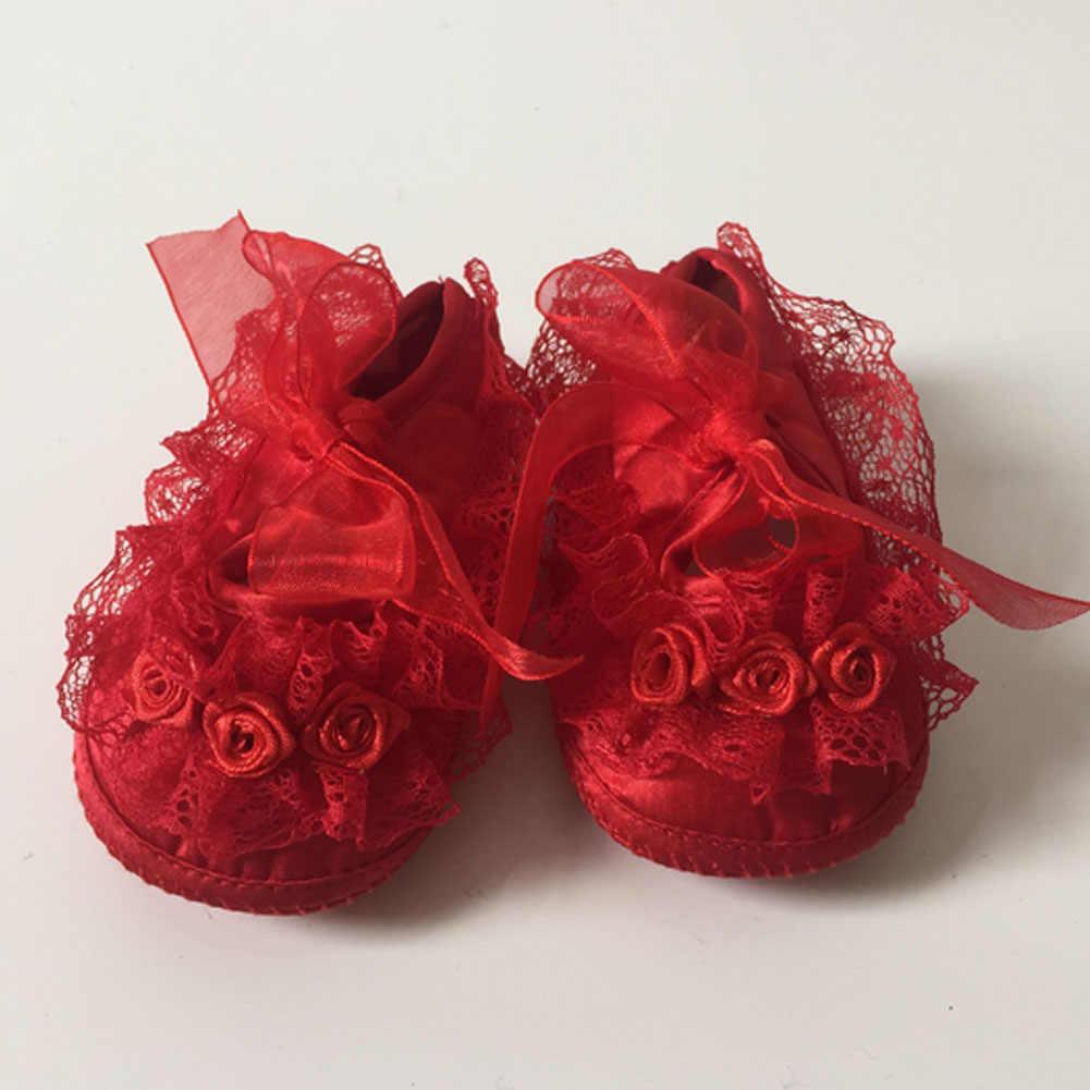 2019 verano recién nacido bebé niña princesa suave cuna suela encaje Floral Riband zapatos de Ballet antideslizantes