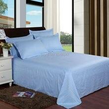 Качественные яркие небесно-голубые хлопковые домашние Сатиновые полосы для отеля, двойной/Полный/queen/King Размер, простыня, наволочка, комплект, одноцветная кровать