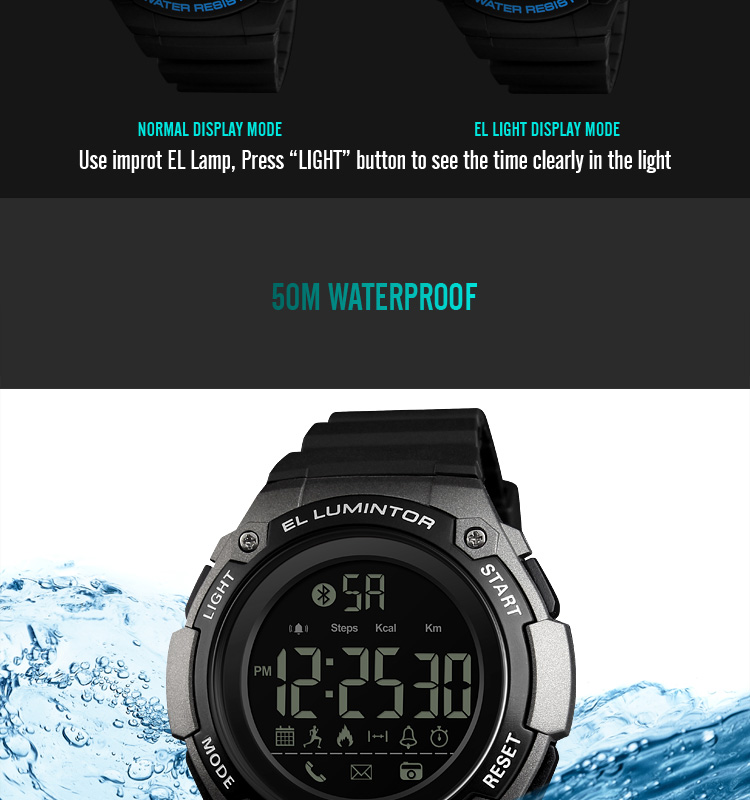 SKMEI 2019 New Bluetooth Sport Smart Watch Men Waterproof Calories Pedometer digital SmartWatch For IOS Android (16)
