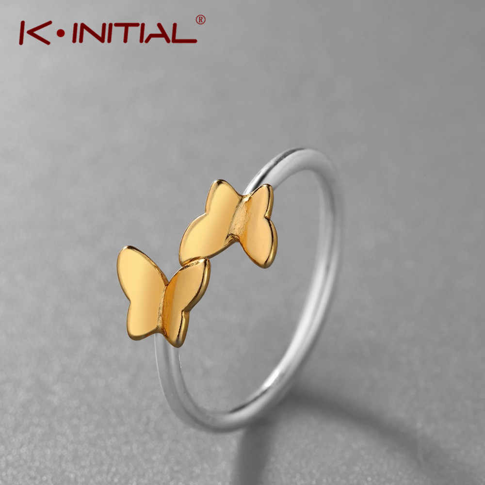 Kinitial New Golden Butterfly Adjustable Finger Rings For Women Kid Fashion Double Charm Animal Butterfly Ring Jewelry Wholesale