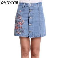 High Quality Women Summer Denim Skirts 2017 Lady Fashion High Waist Floral Embroidery Denim Skirt Female