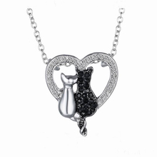 Couple Cats Heart Crystal Necklace