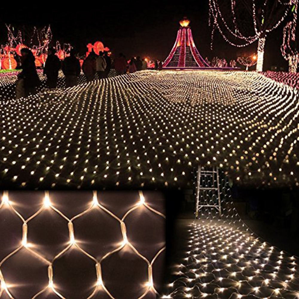 3m * 2m 200 LED Net Mesh Fairy String Light Christmas Bröllopsfest Fairy String Light med 8 Funktions Controller EU / US / UK Plug