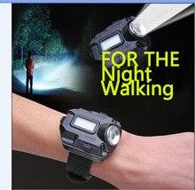 Nuevo Reloj de la Linterna Portable DEL CREE Q5 XPE R2 LED Luz de La Antorcha de Carga USB Muñeca Modelo Táctico Linterna Recargable