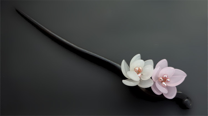 Ebony Hair Stick Fresh Water Pearl Azure Stone Flower Sticks Hair Pin Chinese Jewelry Vintage Wooden Hair Accessories WIGO0789