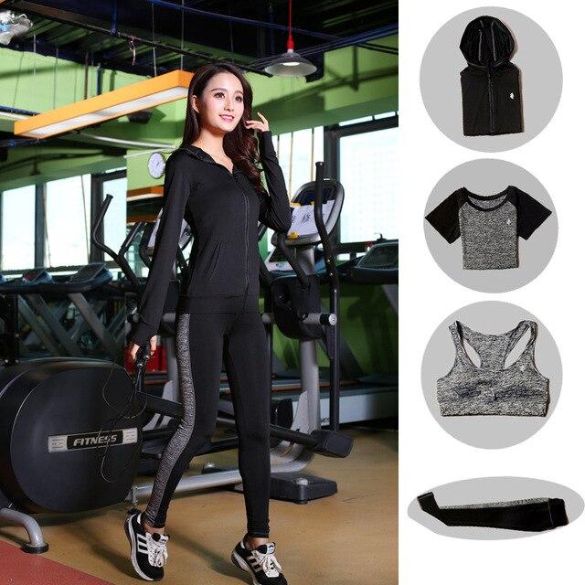 High Waist Pants + Hooded Coat + T-Shirt +Bra + Yoga Women's Pants 4 Pcs Set Outdoor Run Fast Dry Fitness Sports Gym Clothes Set 4