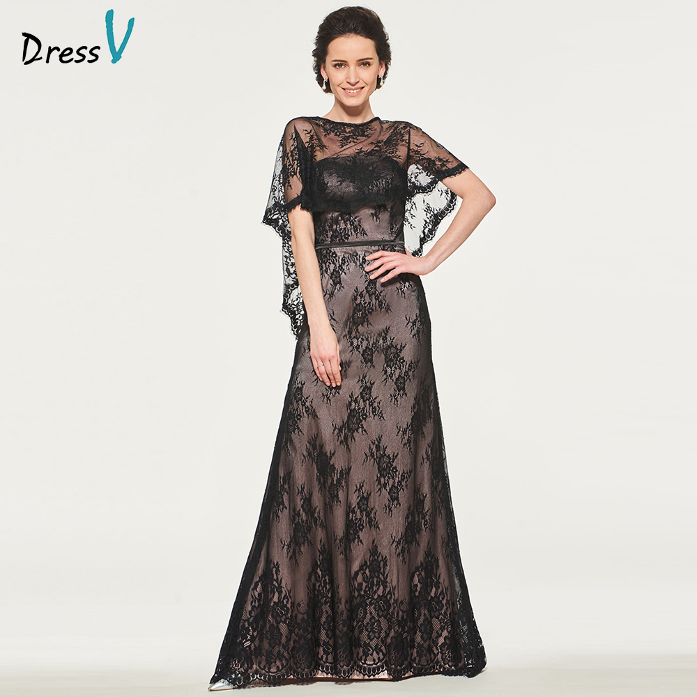 Dressv Black Elegant Mother Of Bride Dress With Jacket Lace Floor Length Zipper Up Long Mother Evening Gown Dresses Custom