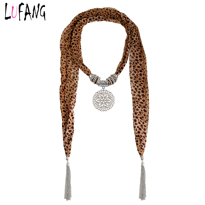 LUFANG Brand Sexy Leopard Flower Pendant Necklace Chiffon Cloth Bohemia Gift Party Maxi Long Tassel Statement Necklace for Women