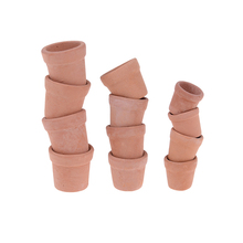 12pcs Mini Red clay Flowerpot Simulation Garden Flower Pot Model Toy For 1/12 Dollhouse Miniature Doll Houses Accessories