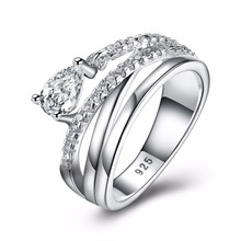 2018 New Fashion  Silver plated ring Vintage Elegance Ring For Women With Clear CZ Luxury Engagement Ring Fine Jewelry