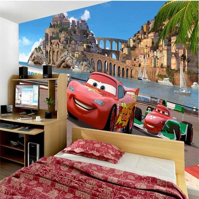 Buy 3d wall paper car cartoon boys girls for Cost of a mural