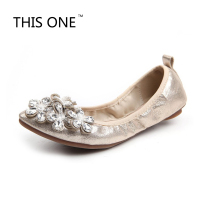 Female S Soft Style Crystal Sequined Cloth Silicon Flowers Leisure Pointed Toe Platform Designer Shopping Thin