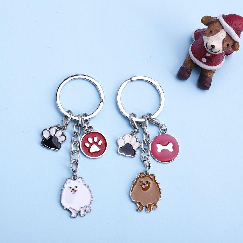 Keychain Cute Keychain Dog Feet Tag Key Car Keyring Dog Animal Charms Keychains Women Fashion Gift Female Alloy Metal Pendants