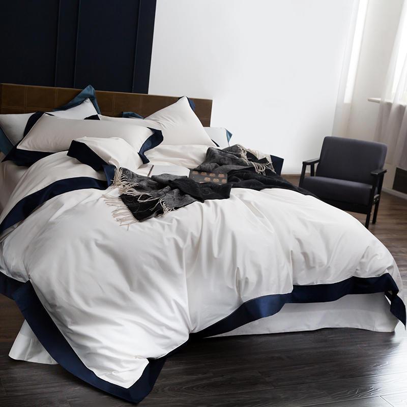 Queen/King Size 1000TC Egyptian Cotton White Luxury Hotel Bedding Set 4Pcs Duvet cover Bed sheet ropa de cama/linge de lit