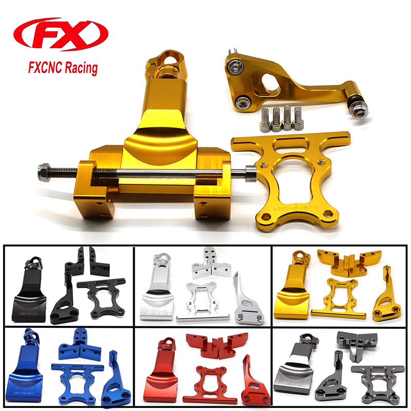 FX CNC Aluminum Adjustable Steering Stabilize Motorcycle Damper Bracket Mounting Kits Fit for YAMAHA MT07 FZ07 2014-2017 motorcycle cnc aluminum windscreen windshield mounting bracket for yamaha mt07 mt 07 2014 2015 2016 red new style with logo