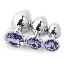 Metal Jewelry Butt Plug Unisex Crystal Stainless Steel Bead Waterproof