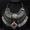 Ожерелье пляж boho шик стиль цыганская этническая ретро резьба монеты посеребренные заявление s для женщин ювелирные изделия
