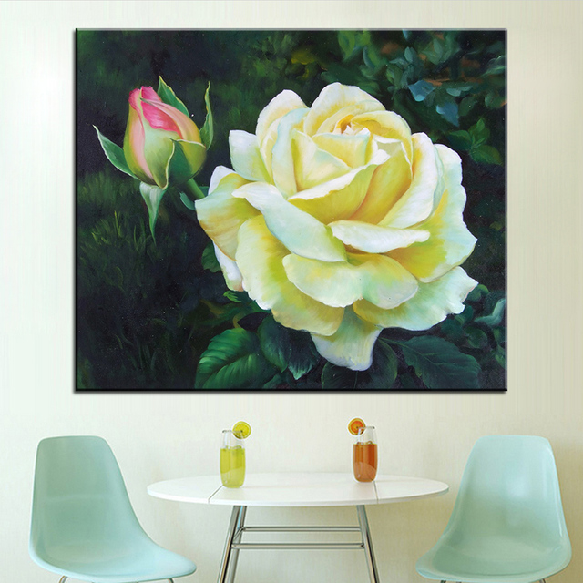 Aliexpress buy dp artisan pale yellow flowers wall painting dp artisan pale yellow flowers wall painting print on canvas for home decor oil painting arts mightylinksfo