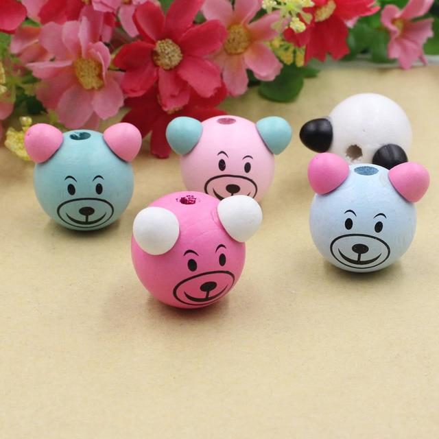 5 pçs/lote Porco Cabeça De Madeira Animal Dos Desenhos Animados Coloridos Beads Para DIY Bebê Chupeta Titular Clipe Colar de Contas Espaçador 27 x 27mm K05453