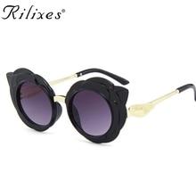 b81700853731 RILIXES new arrival round lovely kids sunglasses girls fashion goggle  protective Sun glasses children Eyewear pink