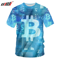 UJIW Men Tshirts Blue Summer Tops 3d Print Bitcoin Shirt Homme Hip Hop Casual T shirt Short Sleeve Crewneck Tee Fitness Clothing
