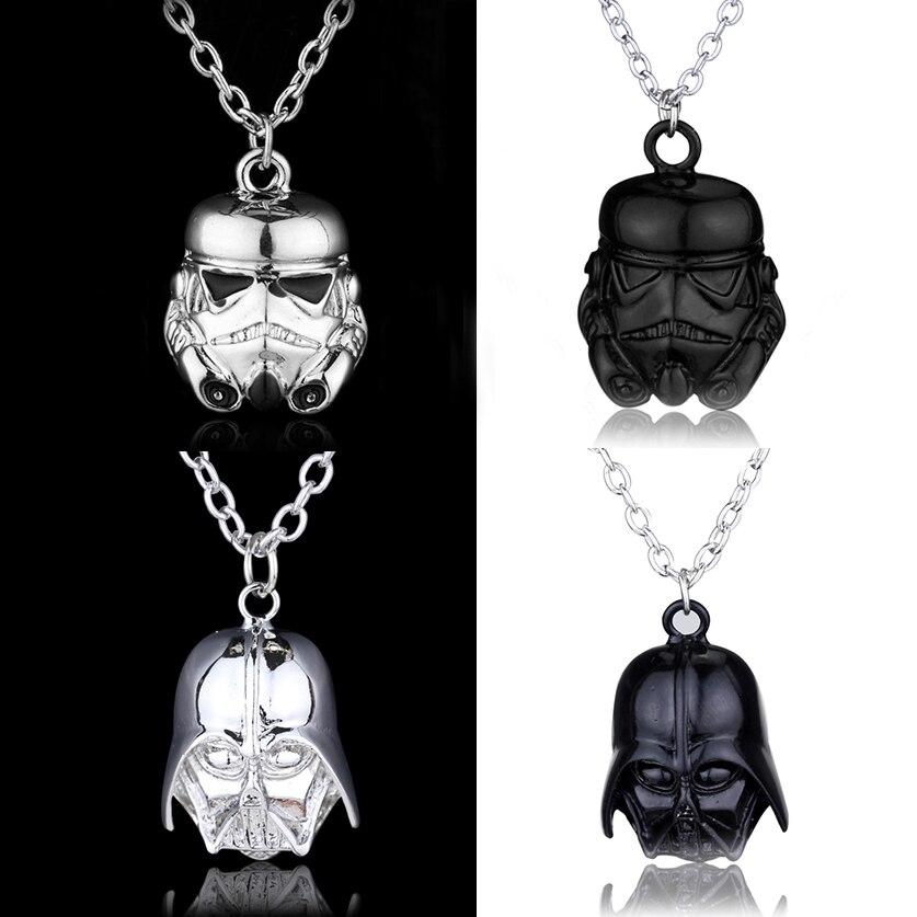 Popular Star Wars Darth Vader Helmet Pendants & Necklaces Movie Jewelry Black/Sliver Warrior Star Wars Long Chain Necklace