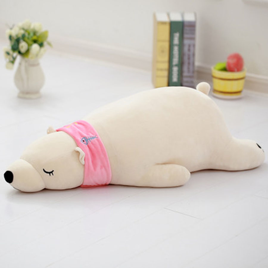 Cute Animal Soft Stuffed Plush Toy Polar Bear Pillow Plush Toy Doll For Girl Bear Children Sleep Pillow Birthday Present 70C0039 see through mesh patchwork bodycon dress