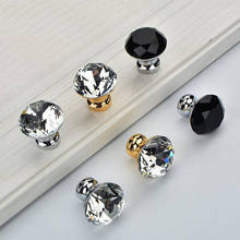 Glass Crystal Drawer Knobs Handles Rhinestone Dresser Pulls Gold Silver Black Kitchen Cabinet Door Pull