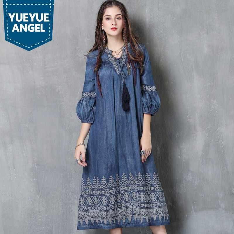 c4eab5b43a3e081 Инди фолк ретро для женщин Мода Половина рукава фонари рукавом вышивка  свободный крой женский джинсовое платье