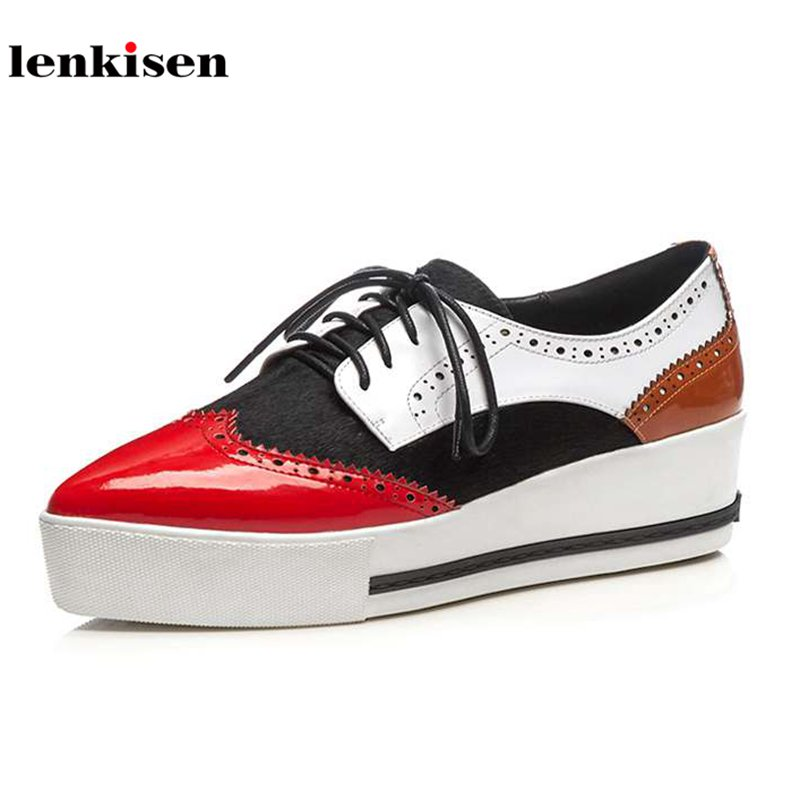 Lenkisen cow leather pointed toe lace up platform causal shoes med heel mixed colors British school women vulcanized shoes L33 bs93 l33