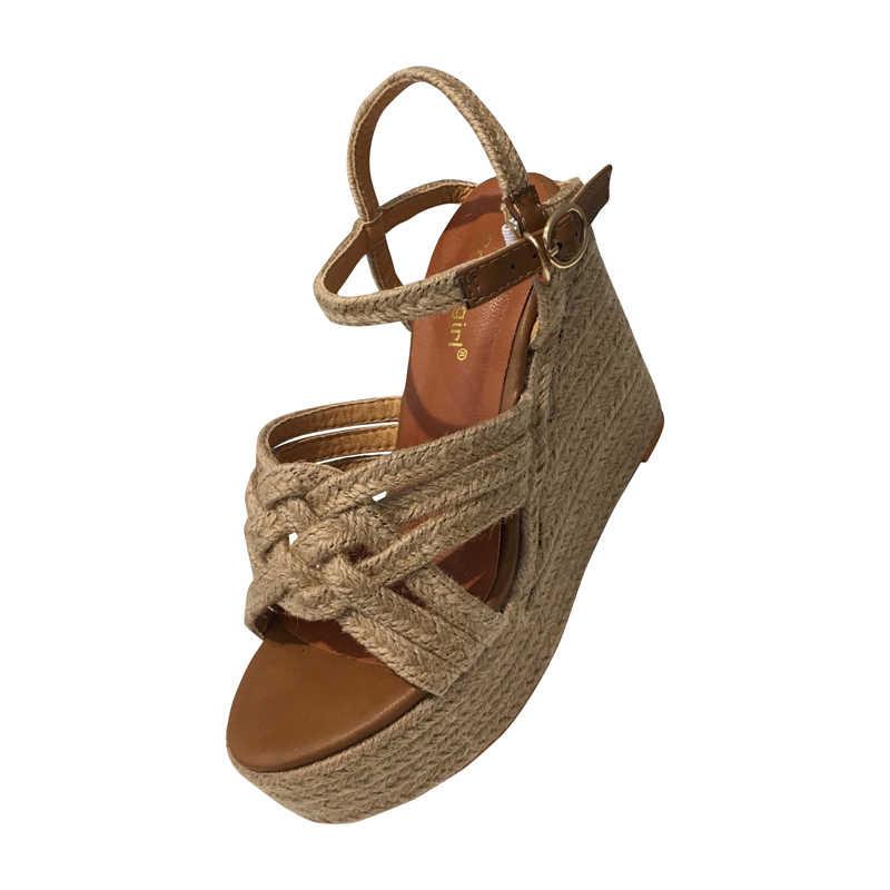 Alto Cm Tacón Sandalias De Mujeres Paja Las Zapatos Rayas Cuñas 11 Aq34SL5Rjc