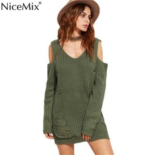 NiceMix 2017 Autumn Knitted Sweater Dress Sexy V-neck Off Shoulder Ripped Pullover Knitting Dresses Vestidos Pull Femme